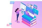 Isometric concept young girl uses the tablet for online learning. Concept for web design