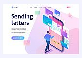Young man creates New email message, send mail notification. New incoming message. Business correspondence. 3d isometric. For Landing page concepts and web design