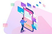 Young man creates New email message, send mail notification. New incoming message. Business correspondence. 3d isometric. Concept for web design
