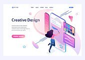 Young girl is engaged in creativity, draws on the smartphone screen using a software application. Creativity concept. 3d isometric. Landing page concepts and web design