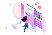 Young girl is engaged in creativity, draws on the smartphone screen using a software application. Creativity concept. 3d isometric. Concept for web design
