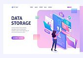 Young girl interacting with the data storage, downloads and uploads files to the cloud. Data exchange concept. 3d isometric. Landing page concepts and web design