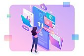 Young girl interacting with the data storage, downloads and uploads files to the cloud. Data exchange concept. 3d isometric. Concept for web design
