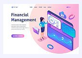 Young girl interacting with charts and analyzing statistics. Financial management concept. 3d isometric. For Landing page concepts and web design