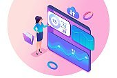 Young girl interacting with charts and analyzing statistics. Financial management concept. 3d isometric. Concept for web design