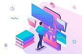 Isometric concept Man watching a lesson on the website, online training, e-learning. Mobile Application for training. Concept for web design