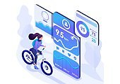 Isometric design concept on the subject like riding a bike, Cycling with a mobile app. For advertising concepts and web design development