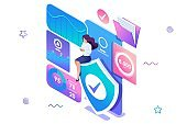 Isometric concept Girl installs online application to protect data on your phone. Information protection. Concept for web design