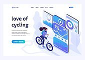 Isometric design concept for the landing page on the subject like riding a bike, Cycling with a mobile app. For advertising concepts and web design