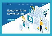 Isometric Conceptual education and coaching is the key to success. Diplomas and knowledge. Website Template Landing page