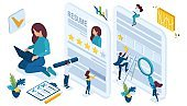 Isometric set of icons for job search, the girl writes a resume for the device to work, little people help to issue documents