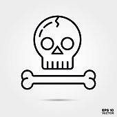 Halloween skull and bone line icon vector illustration