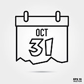 Halloween calendar line icon vector illustration
