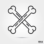 Halloween crossed bones line icon vector illustration