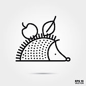Hedgehog carrying apple and leaf line icon vector illustration