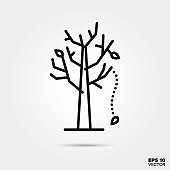 Leaves falling from tree line icon vector illustration