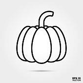 Pumpkin line icon vector illustration