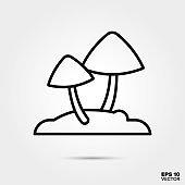 Mushrooms line icon vector illustration