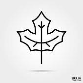 Maple leaf line icon vector illustration