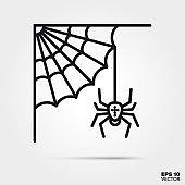 Halloween cobweb with spider line icon vector illustration