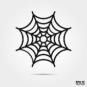 Halloween cobweb line icon vector illustration