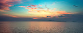 Panoramic dramatic tropical sunset on the sea at twilight times - Vintage Filter