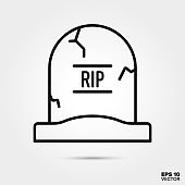 Halloween tombstone line icon vector illustration