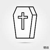Halloween coffin line icon vector illustration