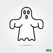 Halloween ghost line icon vector illustration