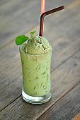 green tea latte, milk green tea or matcha green tea with green tea ice cream