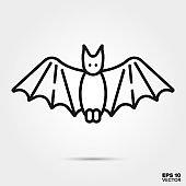Halloween bat line icon vector illustration