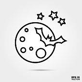 Halloween moon and bat line icon vector illustration
