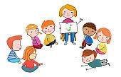Illustration of cute teacher reading for kids