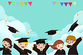 Group of cute graduating kids 、