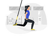 Fit woman working out on trx doing bodyweight exercises. Fitness strength training workout.