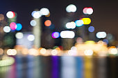 Cityscape downtown. Night city urban skyline Blurred backgroung