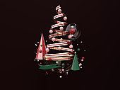 red gold green christmas decoration object levitation black background 3d rendering