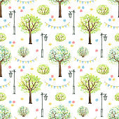 Watercolor seamless pattern with cartoon flowers, trees, bushes, garland and streetlight in park