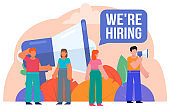 People stand near big loudspeaker, we're hiring message. Search for new employees, recruitment, vacancy. Poster for social media, web page, banner, presentation
