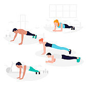 Young Fit people doing plank exercise. Core workout, loss weight.