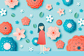 Beautiful floral paper art with butterfly