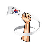 South Korean flag and hand on white background. Vector illustration