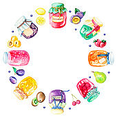 Watercolor round frame with jams and fruits