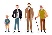 Men. Different ages.Child, teenager, adult and elderly person. Generation of people, family, male line.