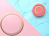 blue marble texture floor red pink circle abstract 3d rendering background