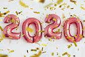 Christmas New Year 2020 numbers balloons. Celebration, holiday.