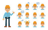 Set of construction man emoticons. Worker avatars showing different facial expressions. Happy, sad, cry, laugh, smile, angry, dizzy, tired, in love and other emotions