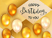 Birthday Balloons on Golden Background