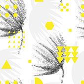 Seamless geometric pattern with geometrical shapes