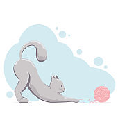 Cat with Wool Ball